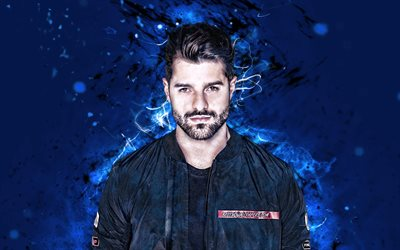 Alok, 4k, Brazilian DJs, blue neon lights, Alok Achkar Peres Petrillo, fan art, creative, Alok 4K