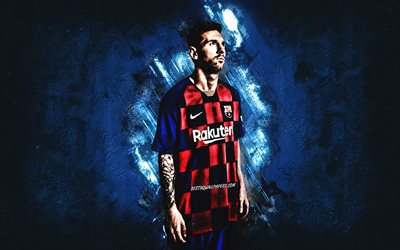 Lionel Messi, portrait, FC Barcelona, blue creative background, uniform Barcelona 2020, La Liga, Leo Messi, creative art