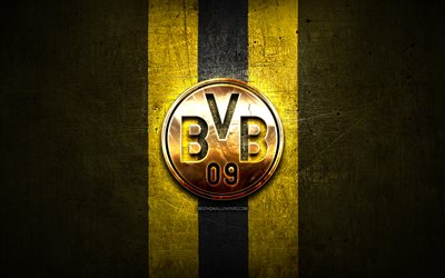 Borussia Dortmund FC, golden logo, Bundesliga, yellow metal background, football, Borussia Dortmund, german football club, Borussia Dortmund logo, soccer, Germany