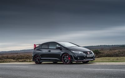 Honda Civic, Type R, 2016, Black Edition, Japanese cars, black Honda