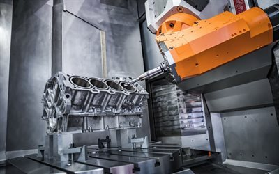 production engine block, engine cylinders, high-tech manufacturing, robot, vehicle engine manufacturing