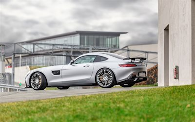 Mercedes AMG GT, 2017, Luethen Motorsport, silver Mercedes, supercar, sports car, Mercedes