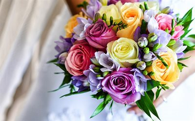 wedding bouquet, colorful flowers, roses, freesia, Wedding