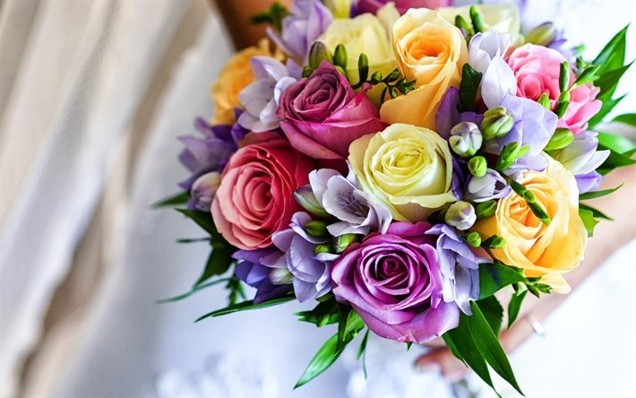 Bouquet Colorati Sposa.Download Wallpapers Wedding Bouquet Colorful Flowers Roses