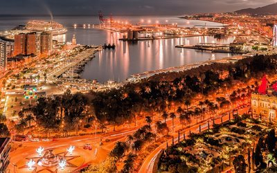 Malaga, harbour, skyline, night, Spain