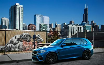 BMW X5M, 2016 cars, F85, IND, tuning, blue x5, SUVs, BMW