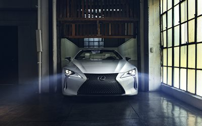 Lexus LC Convertible Concept, 2019, white luxury convertible, front view, new white LC, japanese cars, Lexus