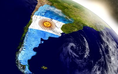 Flag of Argentina, South America, continent, geographical map of Argentina, geography, Argentina