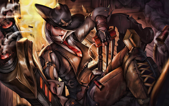 Download wallpapers Ashe, artwork, Overwatch characters
