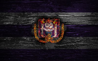 Anderlecht FC, fuoco, logo, Jupiler League, viola e bianco a righe, Belgio football club, il grunge, l'RSC Anderlecht, calcio, Anderlecht logo, di legno, texture, Belgio