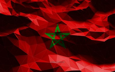 4k, Moroccan flag, low poly art, African countries, national symbols, Flag of Morocco, 3D flags, Morocco, Africa, Morocco 3D flag, Morocco flag
