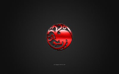 House Targaryen, Game Of Thrones, gray carbon background, House Targaryen logo, carbon fiber texture, House Targaryen emblem, House Targaryen metal sign