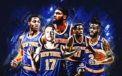 New York Knicks, NBA, American Basketball Club, blue stone background, basketball, Mitchell Robinson, RJ Barrett, Reggie Bullock, Ignas Brazdeikis, Frank Ntilikina