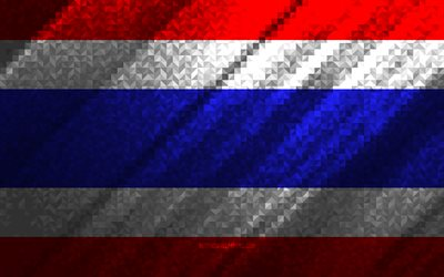 Flag of Thailand, multicolored abstraction, Thailand mosaic flag, Thailand, mosaic art, Thailand flag