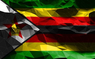 4k, Zimbabwean flag, low poly art, African countries, national symbols, Flag of Zimbabwe, 3D flags, Zimbabwe, Africa, Zimbabwe 3D flag, Zimbabwe flag