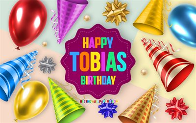 Happy Birthday Tobias, 4k, Birthday Balloon Background, Tobias, creative art, Happy Tobias birthday, silk bows, Tobias Birthday, Birthday Party Background