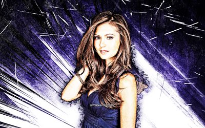 4k, Nina Dobrev, grunge art, canadian actress, Nikolina Kamenova Dobreva, blue abstract rays, canadian celebrity, Nina Dobrev 4K