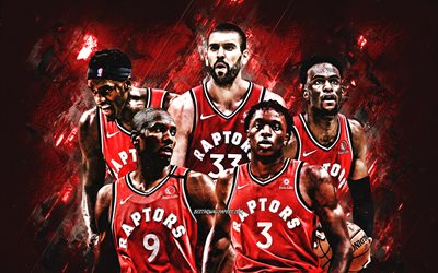 Toronto Raptors, NBA, Canadian Basketball Club, red stone background, basketball, OG Anunoby, Marc Gasol, Oshae Brissett