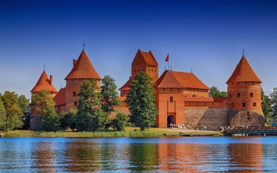 Trakai Island Castle, evening, beautiful castle, Lake Galve, castle on the island, Trakai, Lithuania