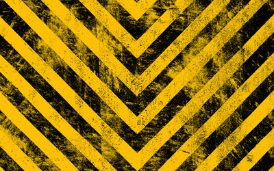 warning tapes, 4k, grunge backgrounds, warning lines, yellow arrows, yellow and black lines, abstract backgrounds, warning stripes