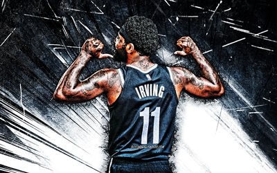 4k, Kyrie Irving, grunge art, back view, Brooklyn Nets, NBA, basketball stars, Kyrie Andrew Irving, basketball, black abstract rays, Kyrie Irving 4K, Kyrie Irving Brooklyn Nets