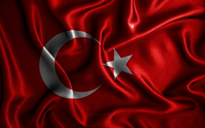 Turkish flag, 4k, silk wavy flags, European countries, national symbols, Flag of Turkey, fabric flags, Turkey flag, 3D art, Turkey, Europe, Turkey 3D flag