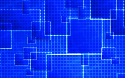 blue squares, 4k, artwork, blue abstract background, squares patterns, geometric shapes, blue backgrounds, geometric patterns, background with squares