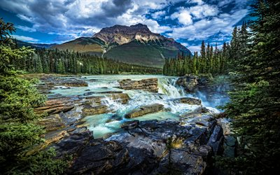 4k, Jasper National Park, waterfalls, cliffs, summer, Alberta, Canada, mountains, beautiful nature, HDR
