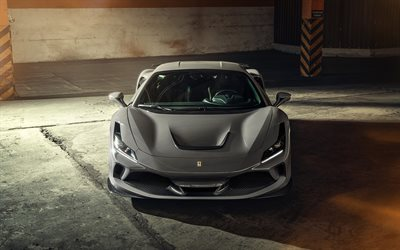 Novitec Ferrari F8 Tributo, 2021, front view, exterior, luxury supercar, new gray F8 Tributo, italian sports cars, Ferrari
