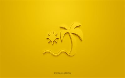 Tropical Islands 3d icon, yellow background, 3d symbols, Tropical Islands, Summer icons, 3d icons, Tropical Islands sign, Summer 3d icons