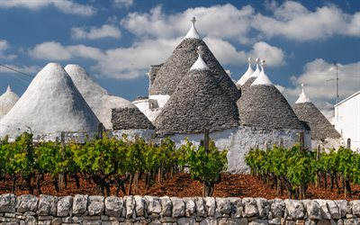 Trullo, vineyard, Trullo cityscape, buildings, trullo houses in Monte Pertica, Alberobello, Bari Province, Italy