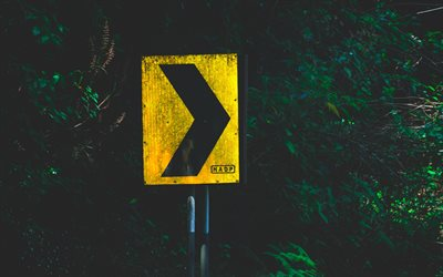 yellow road sign, 4k, pointer to right, arrows, road signs, background with arrow