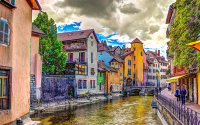 Annecy, HDR, Lake Annecy, french cities, Annecy cityscape, Auvergne-Rhone-Alpes, France