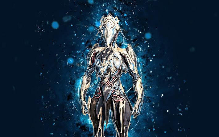 Zephyr, 4k, luci al neon blu, Warframe, RPG, personaggi Warframe, Zephyr Build, Warframe Builds, Zephyr Warframe