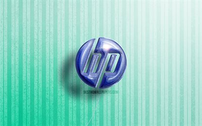 4k, HP 3D logo, Hewlett-Packard logo, blue realistic balloons, games brands, HP logo, Hewlett-Packard, blue wooden backgrounds, HP