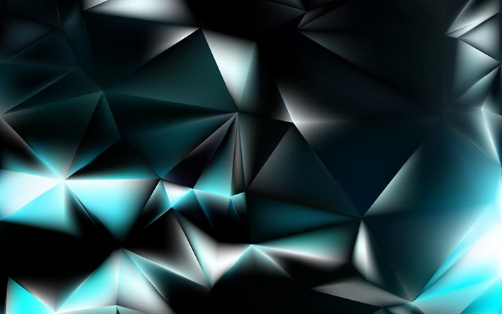 blue 3D low poly background, 4k, abstract art, blue crystals, creative, 3D textures, geometric shapes, low poly art, geometric textures, blue backgrounds