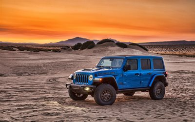 4k, Jeep Wrangler Unlimited Rubicon 392, sunset, 2021 cars, offroad, SUVs, Jeep Wrangler JL, desert, american cars, Jeep