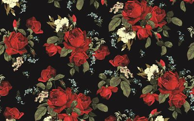 retro roses texture, 4k, black background with red roses, retro roses background, vintage roses texture, Vintage roses seamless pattern, retro background with roses