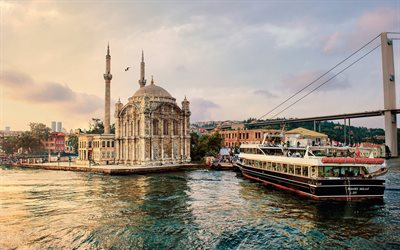 Ortakoy Mosque, Istanbul, Fatih Sultan Mehmet Bridge, evening, sunset, Bosphorus, boat, Turkish mosque, Turkey