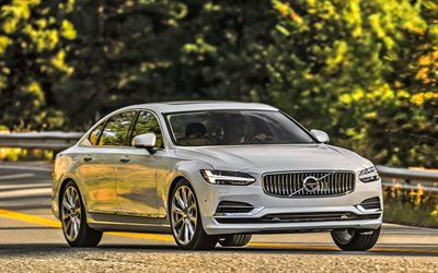 Volvo S90, 4k, T8, 2018 cars, road, white S90, sedans, new S90, Volvo