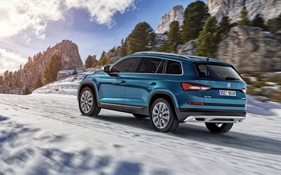 Skoda Kodiaq Scout, 2018, 4k, blue crossover, riding in the snow, winter, mountains, SUV, Czech cars, Skoda