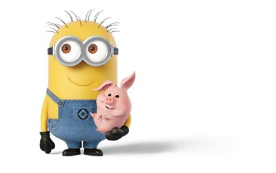 Despicable Me 3, 2017, minions, Kevin, 3d pink pig, characters