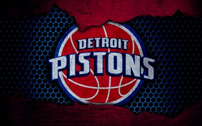 Detroit Pistons, 4k, logo, NBA, basketball, Eastern Conference, USA, grunge, metal texture, Central Division