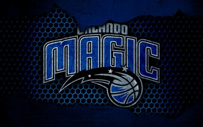 Orlando Magic, 4k, logo, NBA, basketball, Eastern Conference, USA, grunge, metal texture, Southeast Division