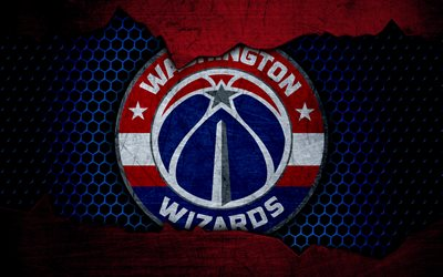 Washington Wizards, 4k, logo, NBA, basketball, Eastern Conference, USA, grunge, metal texture, Southeast Division