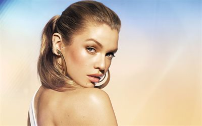 Stella Maxwell, British top model, portrait, face, photo shoot, beautiful young woman