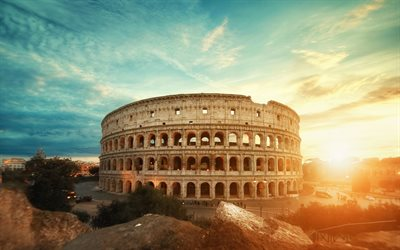 Colosseum, sunset, italian landmarks, Rome, old architecture, Italy, Europe