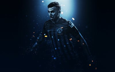 Trezeguet, Mahmoud Ahmed Ibrahim Hassan, 4k, creative art, Kasimpasa, Egyptian footballer, lighting effects, Turkey, football players