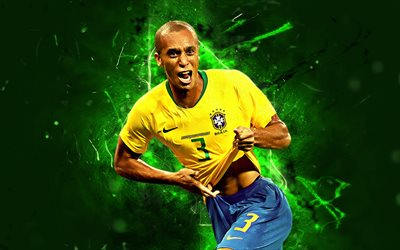 Miranda, goal, Brazil National Team, joy, soccer, Joao Miranda de Souza Filho, abstract art, neon lights, Brazilian football team