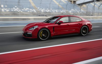 Porsche Panamera GTS, 2018, red sports coupe, racing track, new red Panamera GTS, German sports cars, Porsche